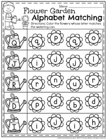 Spring Preschool Letter Matching Worksheets II