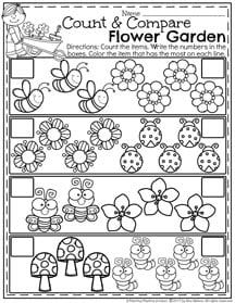 Spring Preschool Math Worksheets - Count and Compare Flower Garden