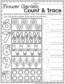 Spring Preschool Number Worksheets II