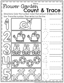 Spring Preschool Number Worksheets for kids.