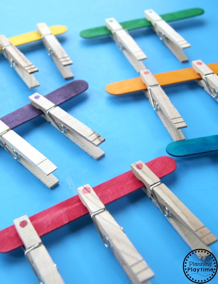 Clothes Pin Color Matching Activity for Kids.