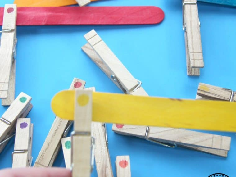 Clothespin Color Matching Activity for Kids.