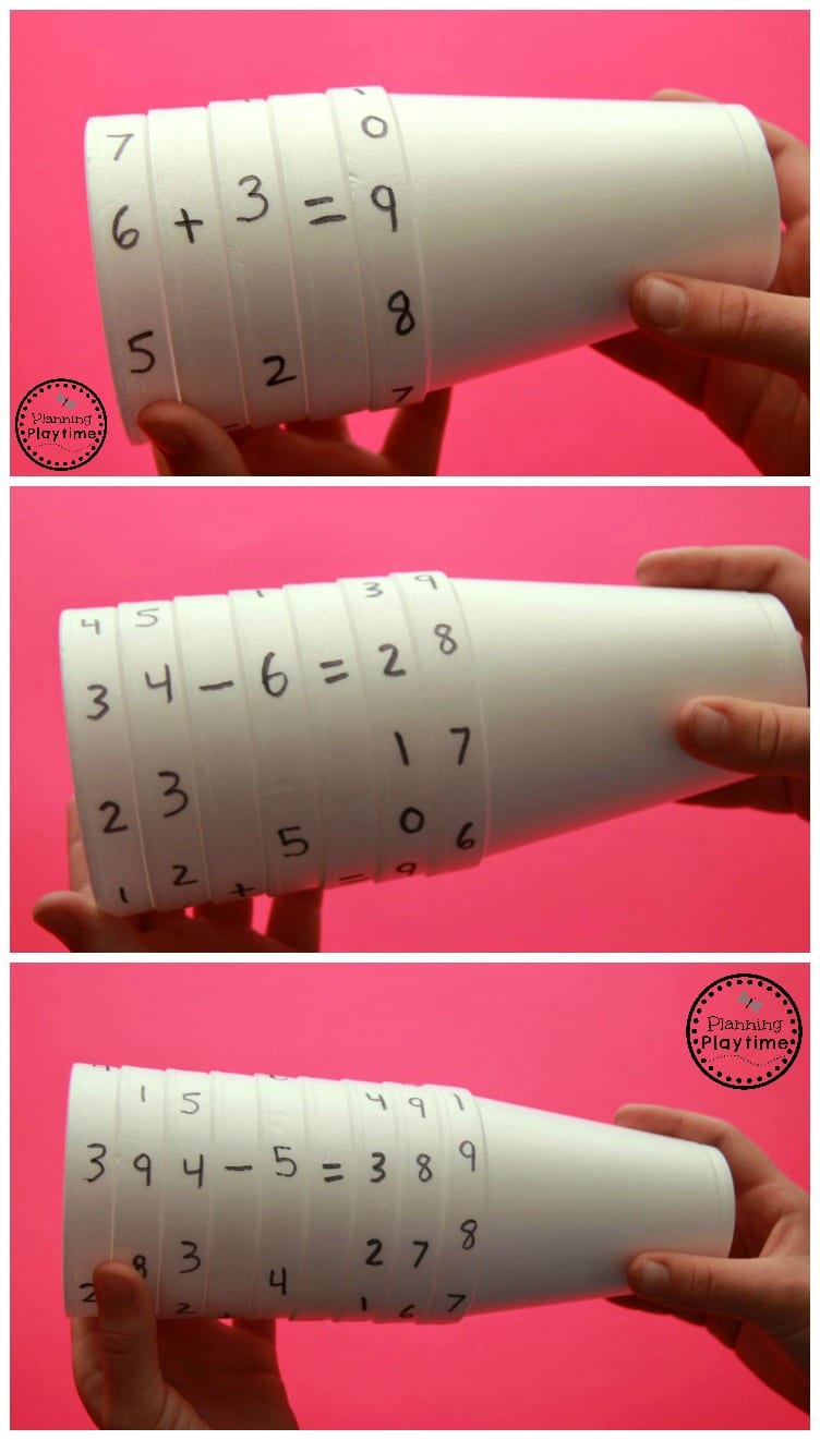 Cup Equations Spinner Math Activity for Kids