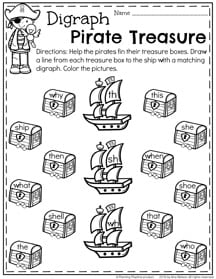 First Grade Digraph Worksheets for Summer