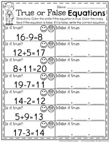 First Grade Math Worksheets for Summer