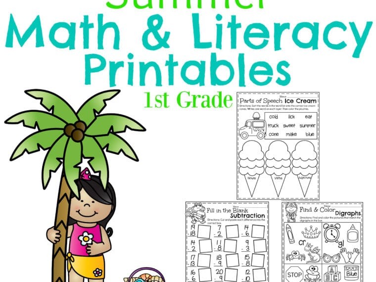 First Grade Summer Worksheets - Math and Literacy