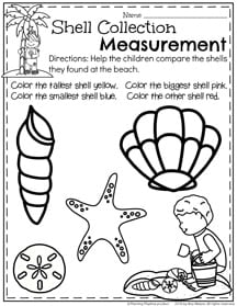 First Grade Measurement Worksheets for Summer