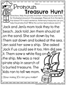 First Grade Pronoun Worksheets For Summer on 1st grade color by number