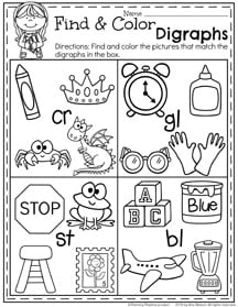 First Grade Summer Worksheets - Digraphs