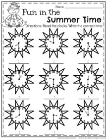 First Grade Telling Time Worksheets for Summer