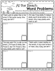 First Grade Word Problems for Summer