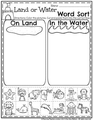 Ocean or Land Word Sort - Summer Preschool Worksheets #summerpreschool #preschoolworksheets #planningplaytime #sortingworksheets