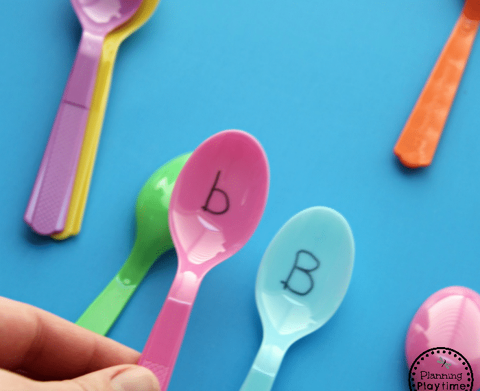 Preschool Alphabet Activity - Spoons Memory Game
