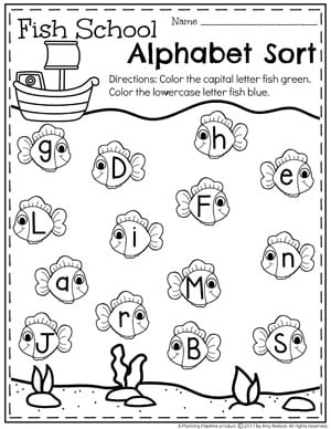 Preschool Alphabet Worksheet - Upper and Lowercase Fish
