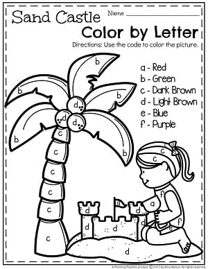 preschool color by letter worksheets for summer - Preschool Colors Worksheet