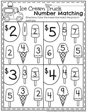 Preschool Number Matching Worksheets for Summer