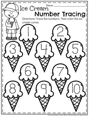 FREE Preschool Number Tracing Worksheets for Summer