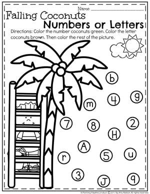 Preschool Numbers or Letters Worksheet for Summer