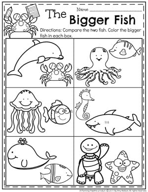 Preschool Size Worksheets for Summer - The Bigger Fish