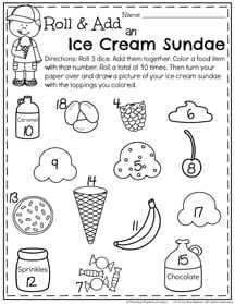 Summer First Grade Worksheets Roll, Add and Color and Ice Cream Sundae