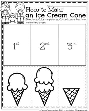 Summer Preschool Worksheet - How to Make and Ice Cream Cone Sequence Puzzle.