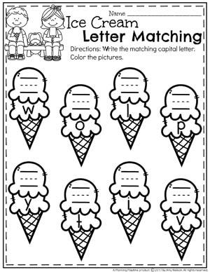 Summer Preschool Worksheets - Letter Matching Ice Cream Cones II