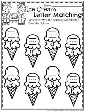Summer Preschool Worksheets - Letter Matching Ice Cream Cones I