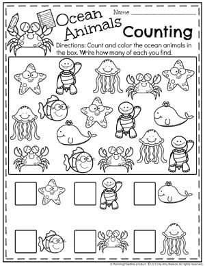 Summer Preschool Worksheets - Ocean Life Counting #summerpreschool #preschoolworksheets #planningplaytime #mathworksheets