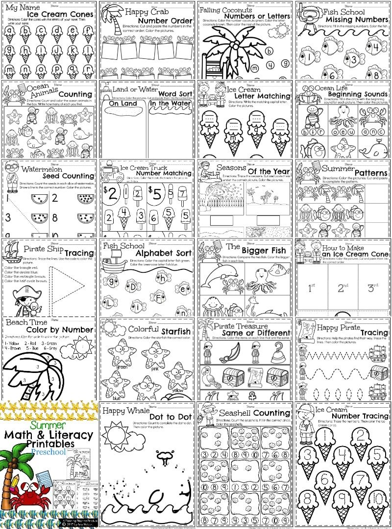 Summer Preschool Worksheets Preview