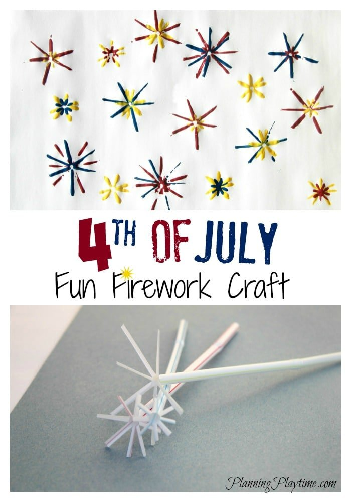 4th of July Fireworks Painting Craft for kids.