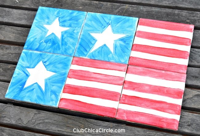 American Flag Painted Coaster Puzzle and other fun 4th of July Crafts for Kids.