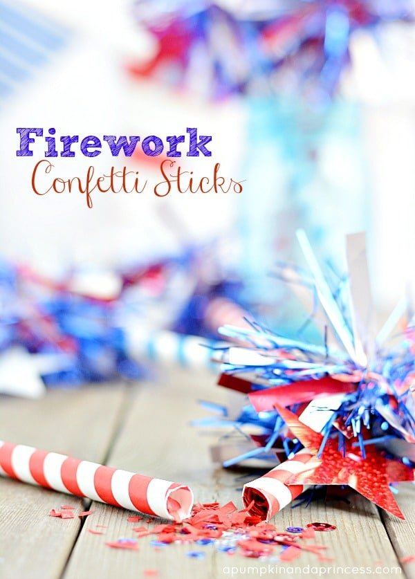 Confetti Sticks and other fun 4th of July Crafts for kids