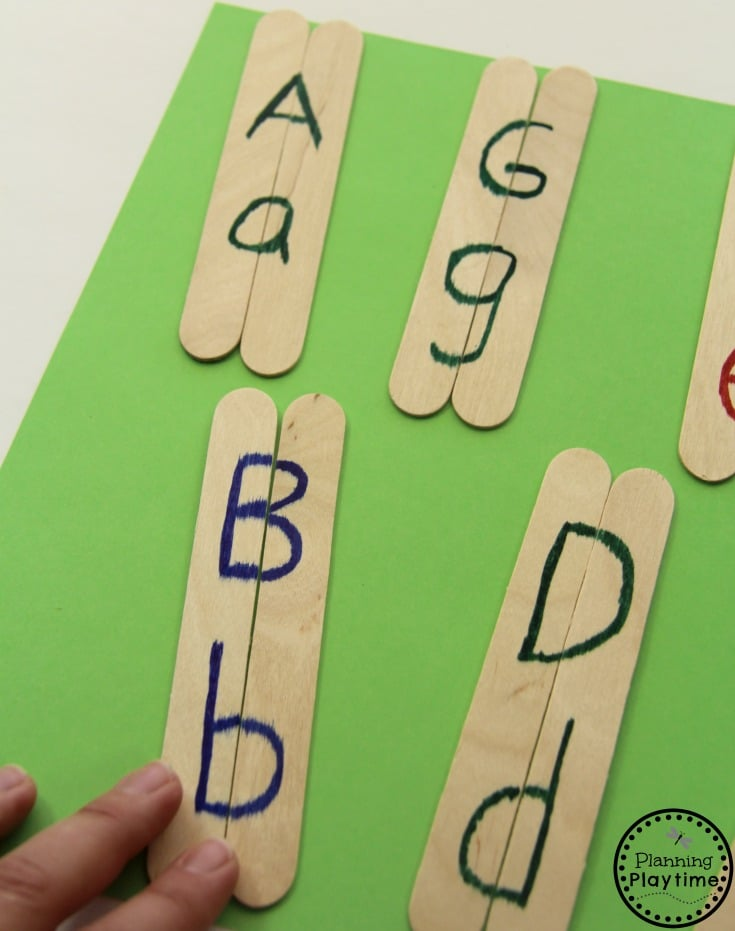 Craft Stick Letter Matching Activity for Kids.