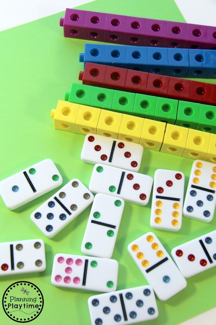 Kindergarten Addition Activity for kids using dominoes.