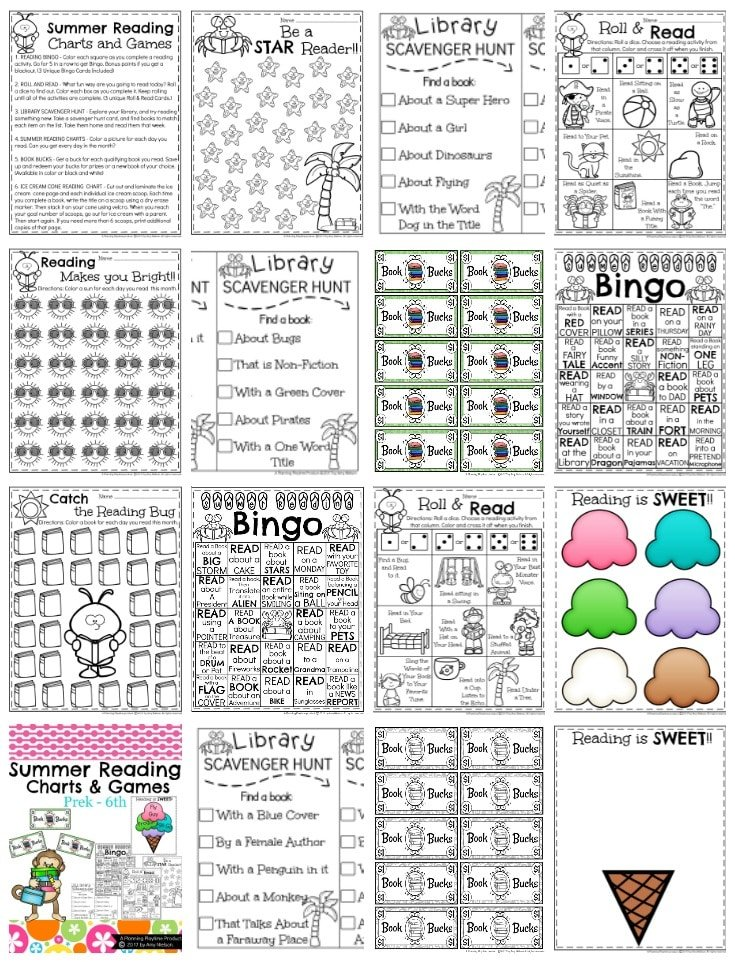 Reading Charts and Activities - Summer Preview