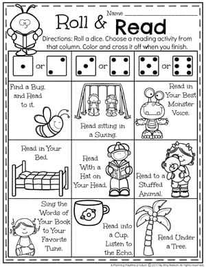 FREE Summer Reading Activity for kids - Roll and Read