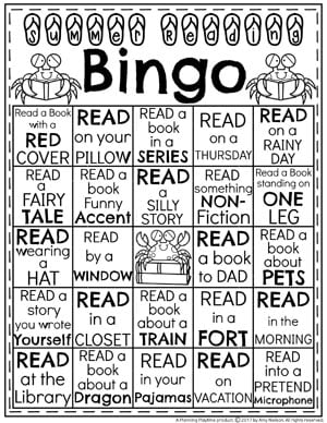 Summer Reading Bingo Activity for Kids