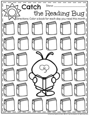 Summer Reading Chart - Catch the Reading Bug