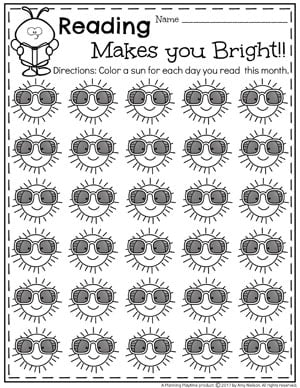 Summer Reading Chart - Reading Makes you Bright