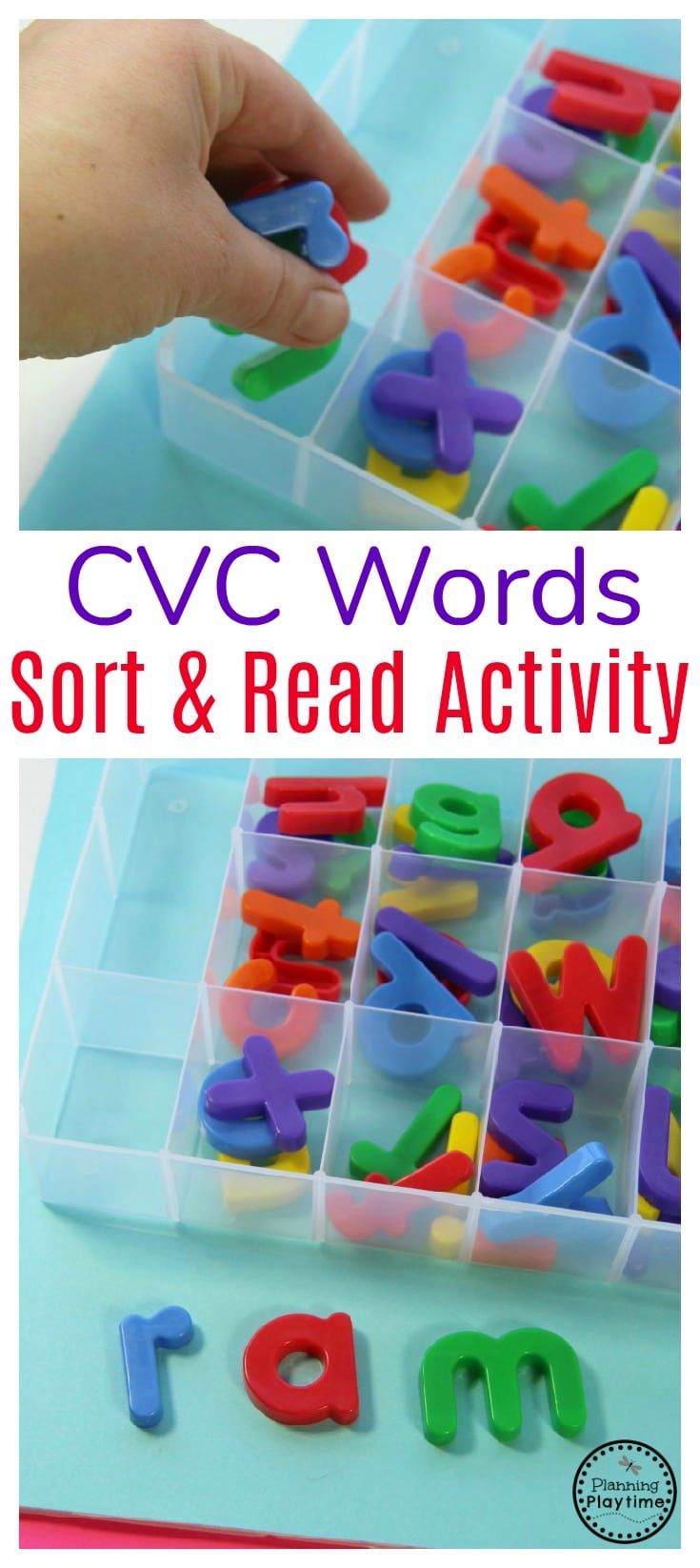 Kinder Reading Activity - Sort and Read CVC Words.
