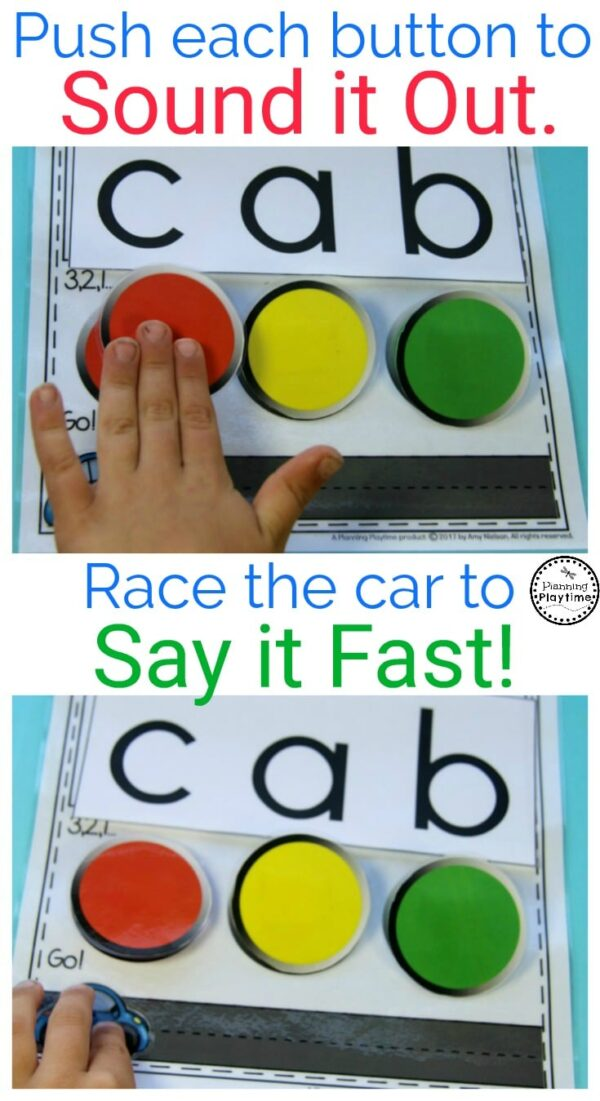 Kindergarten Reading Practice Activity. Push to sound it out. Then Race to say it fast.