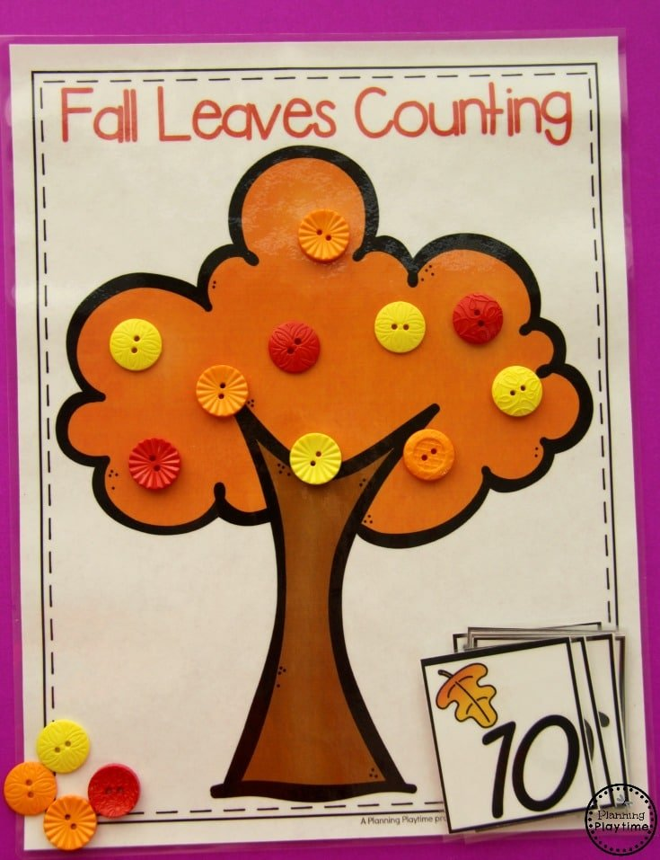 Fall Leaves Counting Center for Kids.