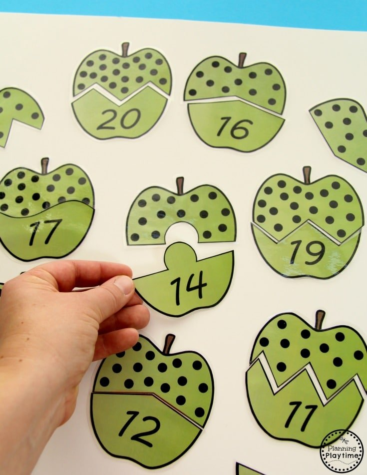 Kindergarten Math Centers - Subitizing Apple Puzzles.