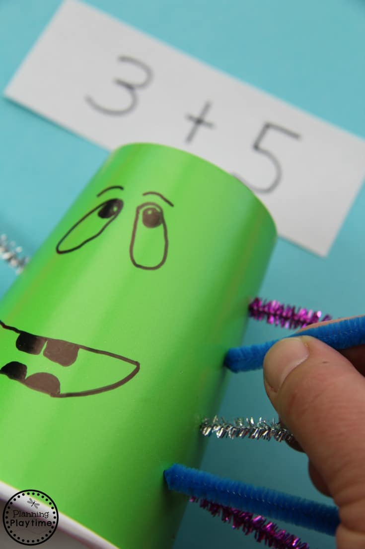 Paper Cup Counting Monster - Fun math activity for kids.