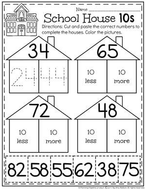 10 More 10 Less Worksheets for kids.