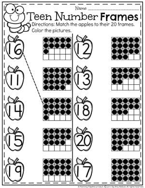 20 Frames Number Worksheets for Kindergarten