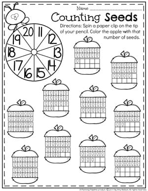 20 Frames Number Worksheets For Kindergarten Apple Teen Counting