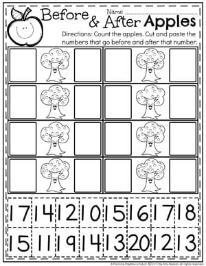 Before and After Numbers Worksheets for Kindergarten
