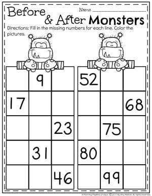 Before and After Worksheets for Kinderten - Fun kindergarten Math Worksheets