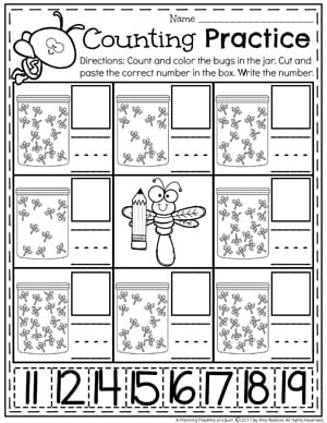 Bug Counting Worksheets For Kindergarten Or Preschool